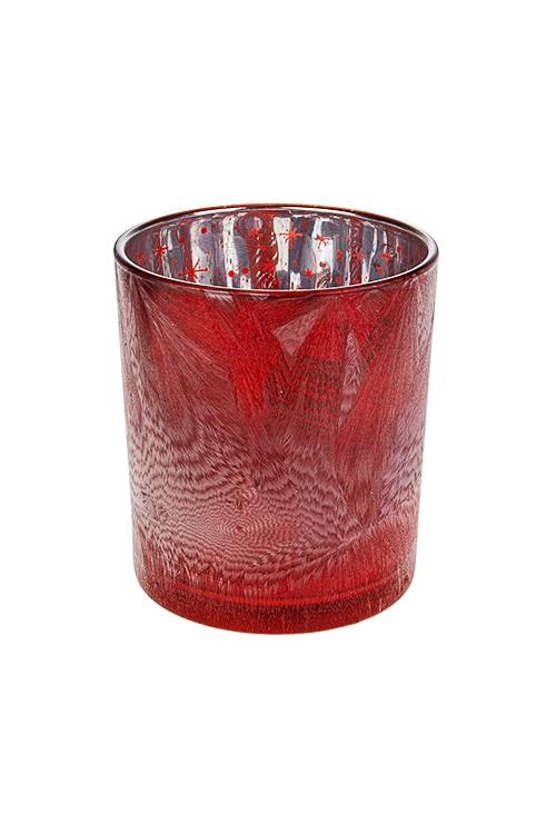 Подсвечник для свечи-таблетки Новогоднее настроениеПодсвечники<br>Выс=10см, стекло, красно-серебр.<br>