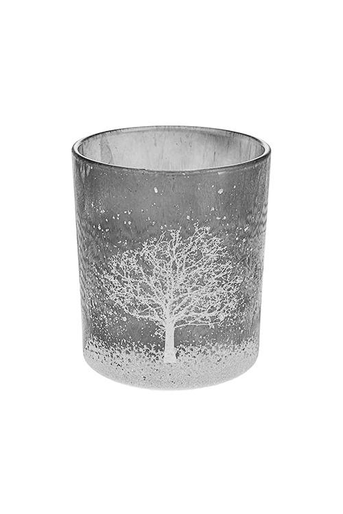 Подсвечник для свечи-таблетки Зимний пейзажИнтерьер<br>Выс=10см, стекло, серо-белый<br>