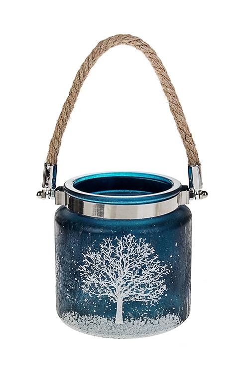 Подсвечник для свечи-таблетки Зимний пейзажИнтерьер<br>Выс=10см, стекло, сине-белый<br>