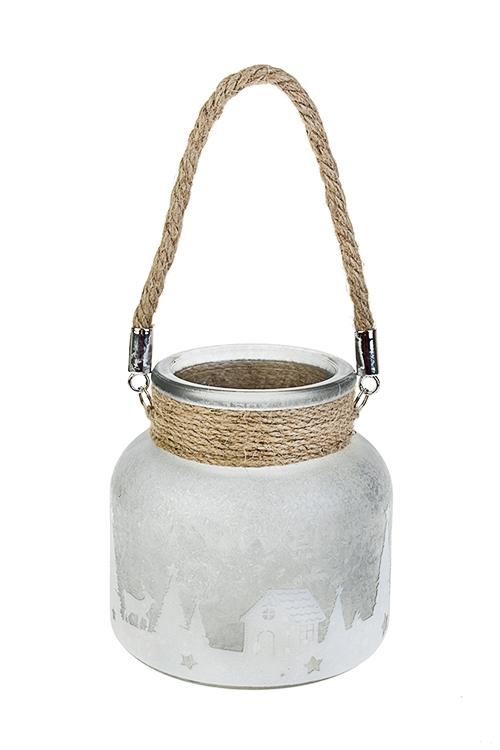 Подсвечник для свечи-таблетки Зимний лесИнтерьер<br>Выс=12см, стекло, серо-белый<br>