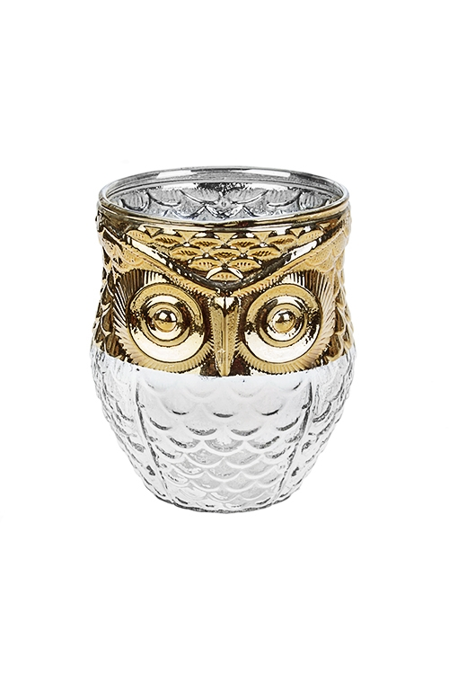 Подсвечник для свечи-таблетки СоваИнтерьер<br>Выс=10см, стекло, прозр.-золот.<br>