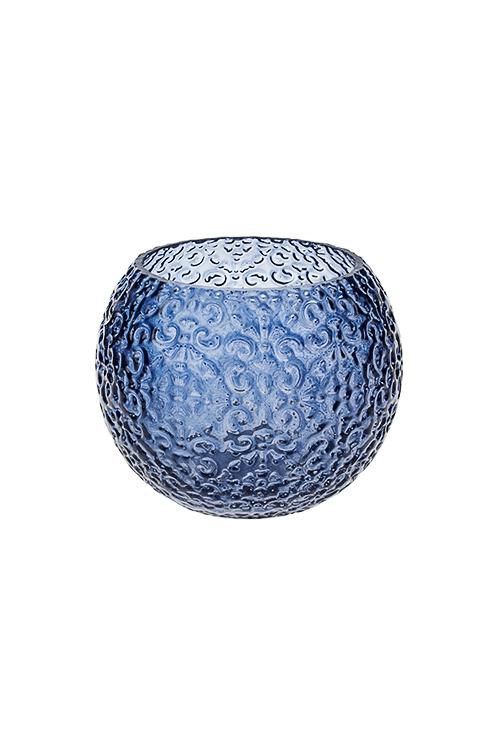 Подсвечник для свечи-таблетки Цветочный орнаментИнтерьер<br>Выс=8см, стекло, синий<br>