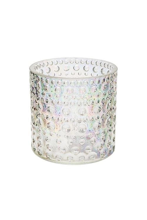 Подсвечник для свечи-таблетки АкваИнтерьер<br>Выс=10см, стекло, перламутр.-прозр.<br>
