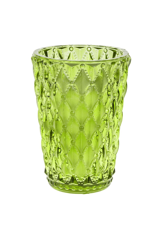 Подсвечник со свечой ароматизированной ХрустальИнтерьер<br>7.5*11см, стекло, парафин, зеленый (перец/липовый цвет)<br>