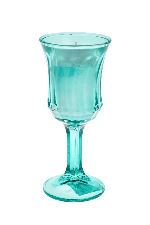 Подсвечник со свечой ароматизированной БокалИнтерьер<br>6*14см, стекло, парафин, мятный (кокос/морская соль)<br>