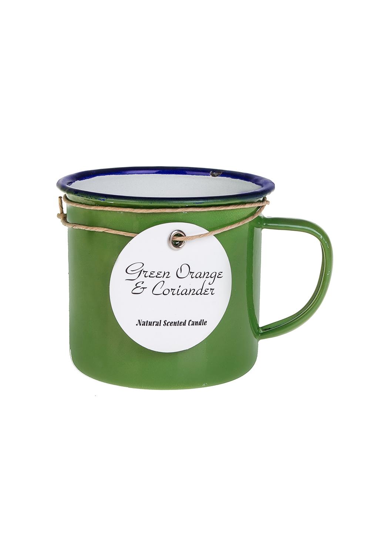 Подсвечник со свечой ароматизированной КружкаИнтерьер<br>8*7см, металл, эмаль, парафин, зеленый (апельсин/кориандр)<br>