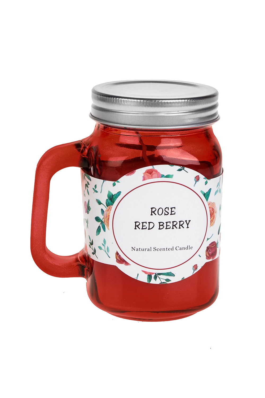 Подсвечник со свечой ароматизированной Кружка с крышкойИнтерьер<br>Выс=11см, стекло, металл, парафин (роза/ягоды)<br>