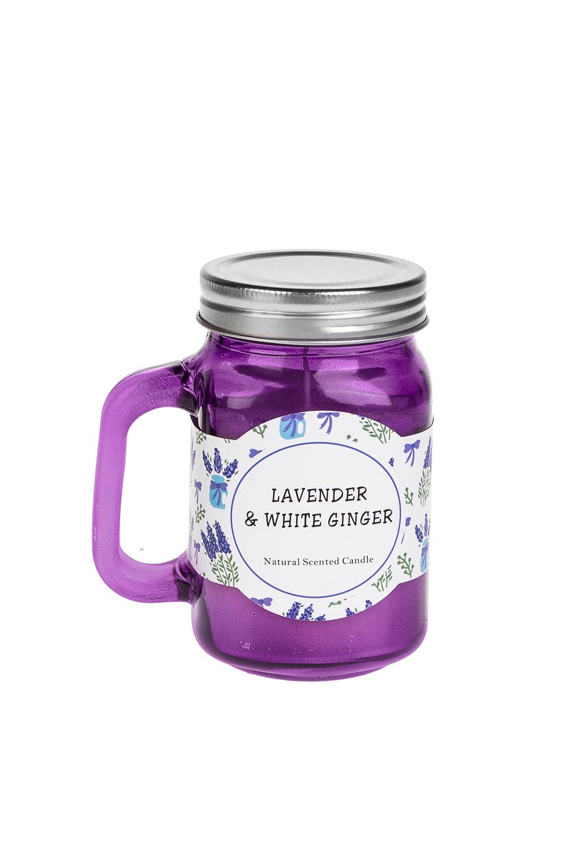 Подсвечник со свечой ароматизированной Кружка с крышкойИнтерьер<br>Выс=11см, стекло, металл, парафин (лаванда/имбирь)<br>