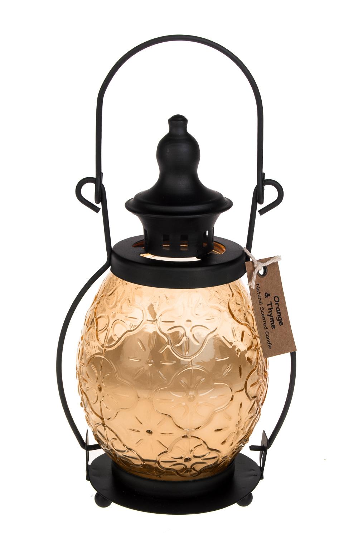 Подсвечник со свечой ароматизированной ФонарьИнтерьер<br>11*19см, стекло, металл, парафин (апельсин/тимьян)<br>