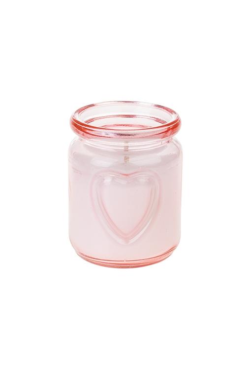Подсвечник со свечой ароматизированной СердцеИнтерьер<br>Выс=8см, парафин, стекло (роза и плюмерия)<br>