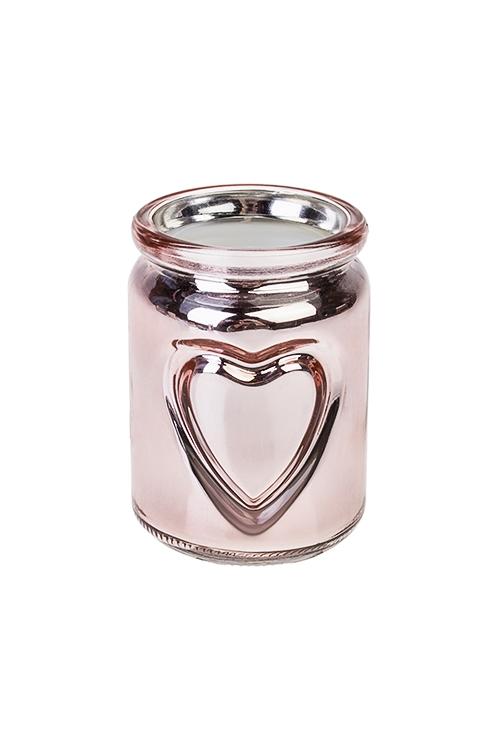 Подсвечник со свечой ароматизированной СердцеИнтерьер<br>Выс=10см, парафин, стекло (ягодно-сливочный микс)<br>