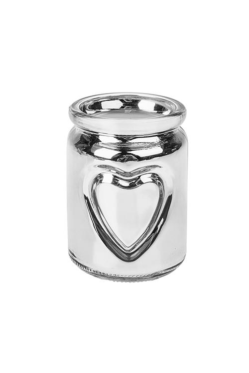Подсвечник со свечой ароматизированной СердцеДекоративные свечи<br>Выс=10см, парафин, стекло (ананас и кокос)<br>