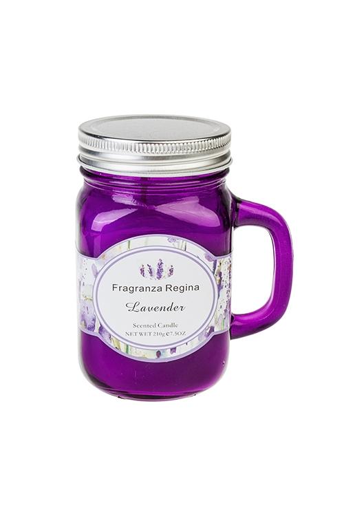 Подсвечник со свечой ароматизированной Волшебный ароматДекоративные свечи<br>Выс=13см, парафин, стекло (лаванда)<br>