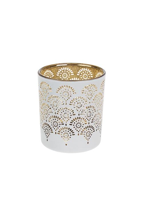 Подсвечник для свечи-таблетки Восточный орнаментИнтерьер<br>Выс=8см, стекло, бело-золот.<br>