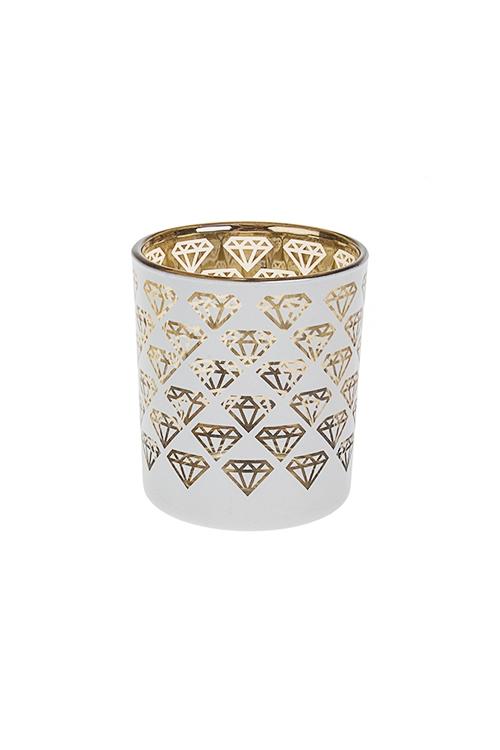 Подсвечник для свечи-таблетки БриллиантыИнтерьер<br>Выс=8см, стекло, бело-золот.<br>