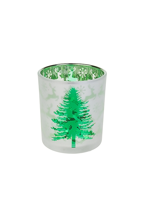 Подсвечник для свечи-таблетки ЕлочкаИнтерьер<br>Выс=8см, стекло, бело-зеленый<br>