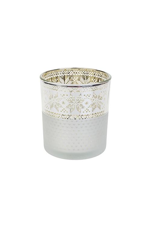 Подсвечник для свечи-таблетки Норвежский узорПодсвечники<br>Выс=8см, стекло, бело-золот.-серебр.<br>