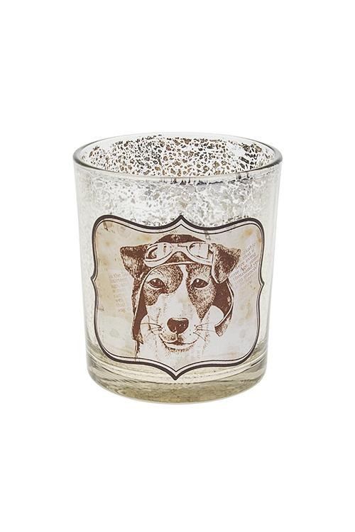 Подсвечник для свечи-таблетки Ретро песПодсвечники<br>Выс=10см, стекло, серебр.-золот.<br>