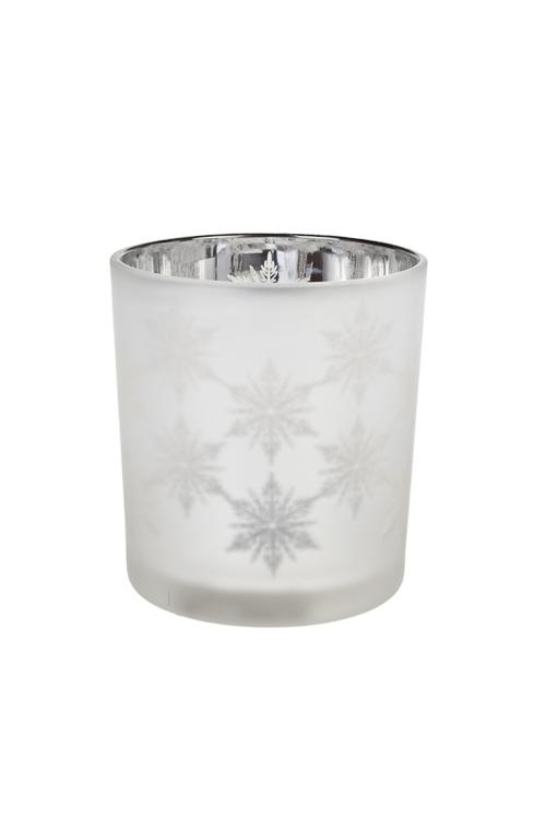 Подсвечник для свечи-таблетки СнежныйПодсвечники<br>Выс=8см, стекло, серебр. (2 вида)<br>