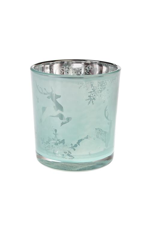 Подсвечник для свечи-таблетки Гарцующий оленьПодсвечники<br>Выс=8см, стекло, мятный<br>