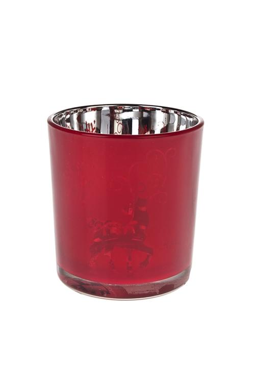 Подсвечник для свечи-таблетки Рождественский узорПодсвечники<br>Выс=8см, стекло, красный<br>