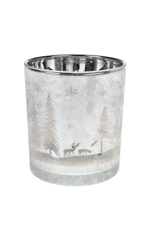 Подсвечник для свечи-таблетки ИнейПодсвечники<br>Выс=10см, стекло, бело-серебр.<br>