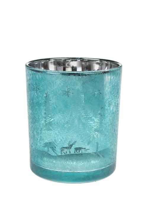 Подсвечник для свечи-таблетки ИнейИнтерьер<br>Выс=10см, стекло, бирюз.<br>