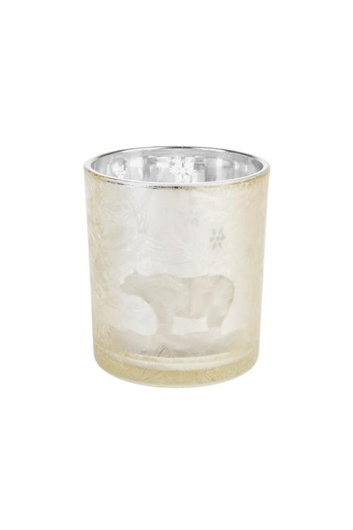 Подсвечник для свечи-таблетки Белый мишкаИнтерьер<br>Выс=8см, стекло, золот.<br>