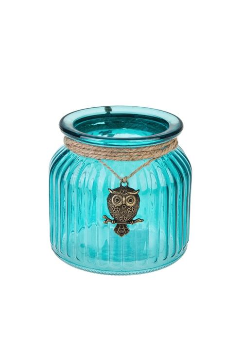 Подсвечник для свечи-таблетки СовушкаИнтерьер<br>Выс=11см, стекло, бирюз.<br>