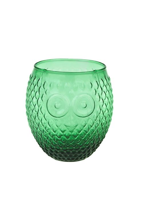 Подсвечник для свечи-таблетки Мудрая соваПодарки ко дню рождения<br>Выс=11см, стекло, темно-зеленый<br>
