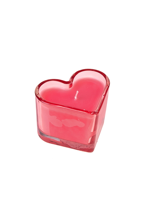 Подсвечник со свечой ароматизированной СердцеИнтерьер<br>9*8*7см, парафин, стекло, с ароматом розы и личи<br>