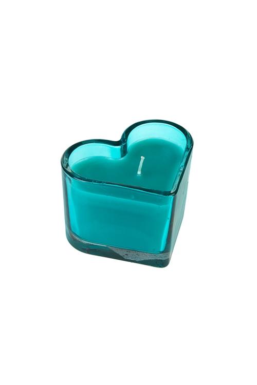 Подсвечник со свечой ароматизированной СердцеИнтерьер<br>9*8*7см, парафин, стекло, с ароматом дерева и шалфея<br>