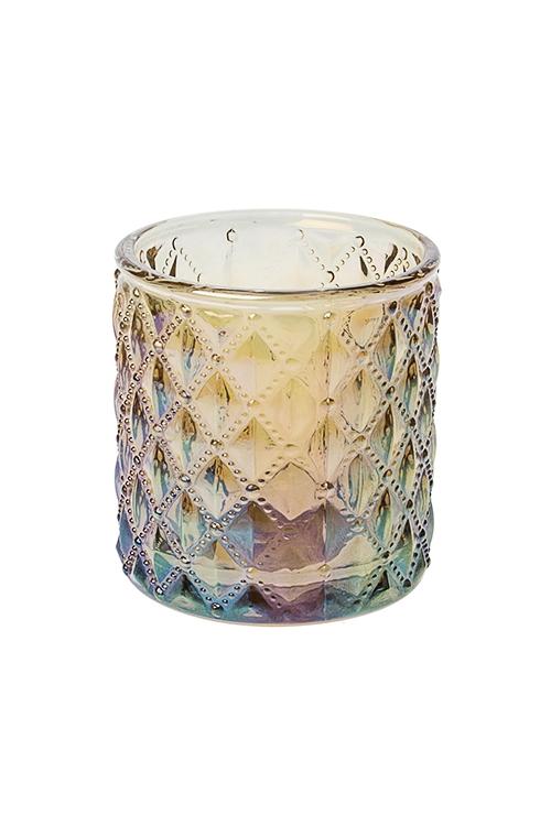 Подсвечник для свечи-таблетки РомбыИнтерьер<br>7*7см, стекло, золото-перламутр.<br>