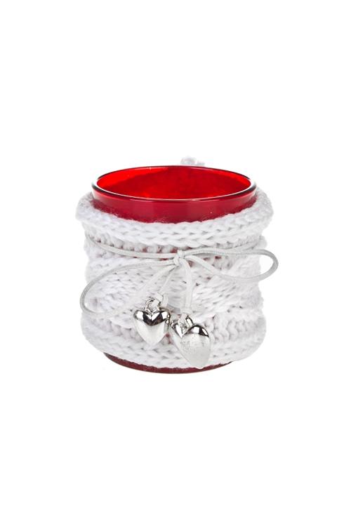 Подсвечник для свечи-таблетки Тепло сердецПодсвечники<br>Выс=8см, стекло, красно-белый<br>