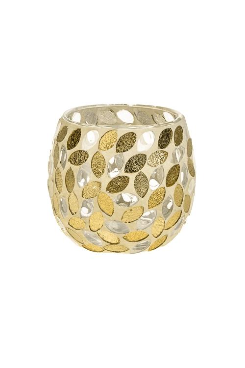 Подсвечник для свечи-таблетки Солнечные бликиИнтерьер<br>Выс=9см, стекло, крем.-золот.<br>