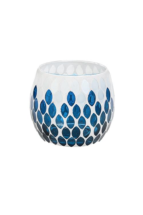Подсвечник для свечи-таблетки Морские мотивыИнтерьер<br>Выс=9см, стекло, сине-белый<br>
