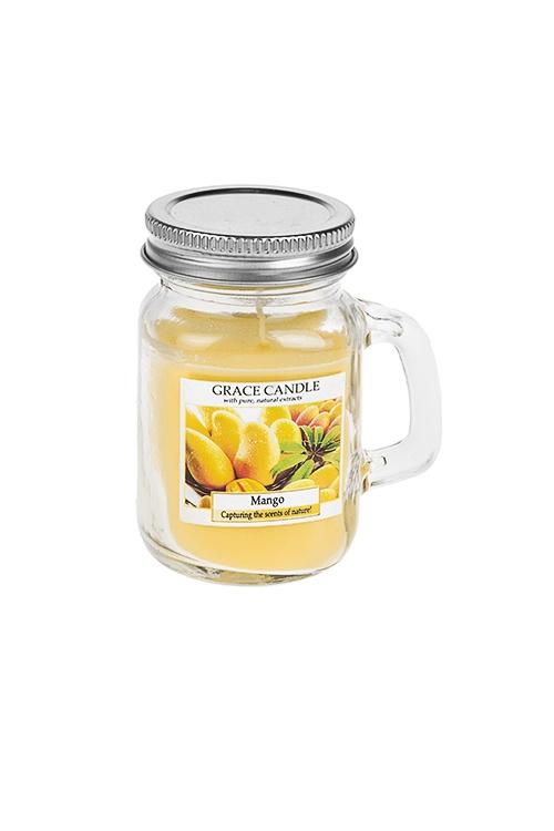 Подсвечник со свечой ароматизированной Кружка с крышкойДекоративные свечи<br>Выс=8.5см, стекло, парафин, воск (манго)<br>