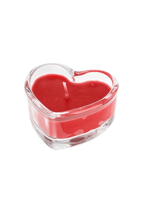 Подсвечник со свечой ароматизированной СердцеИнтерьер<br>7.5*3.5см, парафин, воск, стекло (роза)<br>