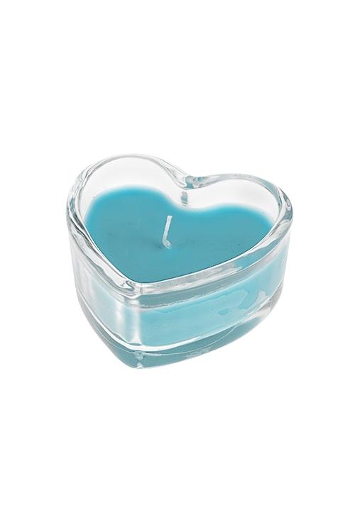 Подсвечник со свечой ароматизированной СердцеИнтерьер<br>7.5*3.5см, парафин, воск, стекло (кокос)<br>