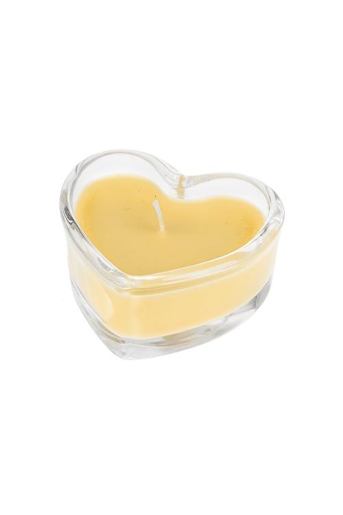 Подсвечник со свечой ароматизированной СердцеДекоративные свечи<br>7.5*3.5см, парафин, воск, стекло (жасмин)<br>