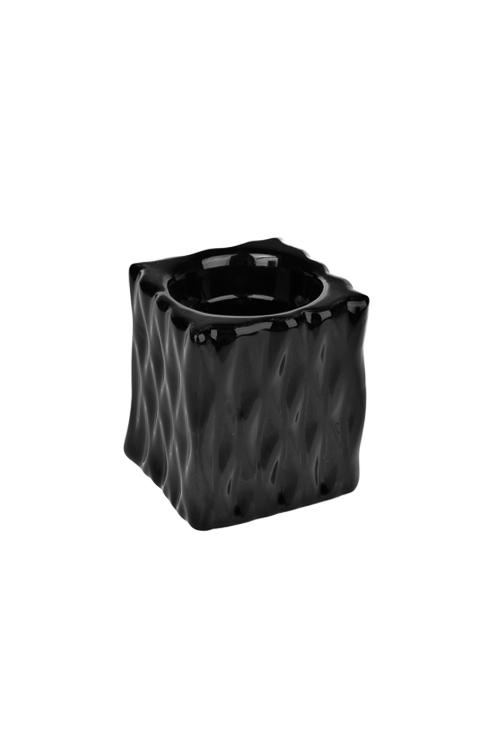 Подсвечник для свечи-таблетки ЛаконичностьИнтерьер<br>Выс=7см, керам., черный<br>