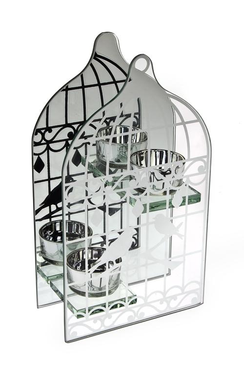 Подсвечник для 2-х свечей-таблеток Зеркальная клеткаИнтерьер<br>13*23*6см, стекло<br>