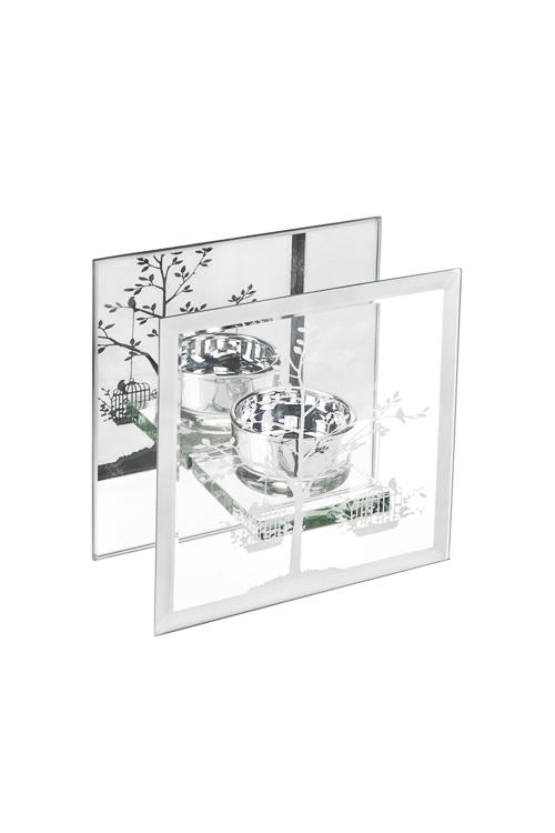 Подсвечник для свечи-таблетки Волшебное деревоИнтерьер<br>12*6*12см, стекло, прозр.-серебр.<br>