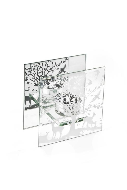 Подсвечник для свечи-таблетки Сказочное деревоИнтерьер<br>12*6*12см, стекло<br>