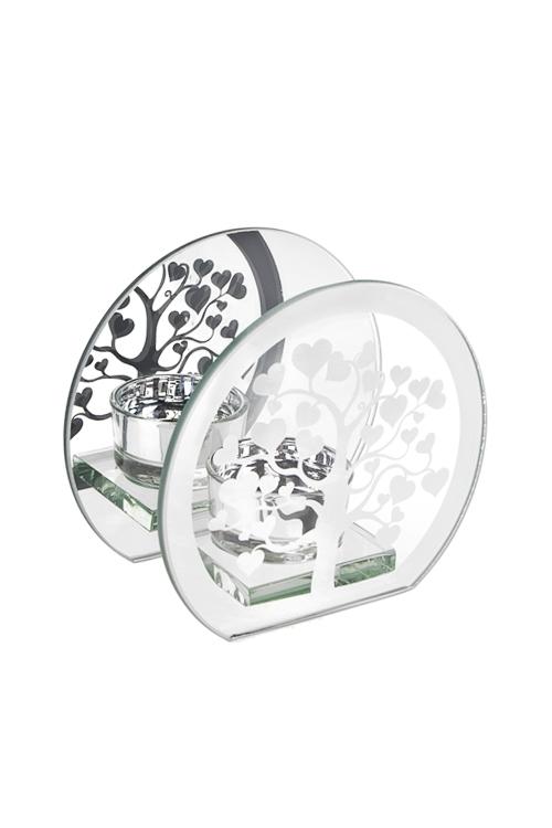 Подсвечник для свечи-таблетки Дерево любвиИнтерьер<br>12*6*11см, стекло, серебр.<br>