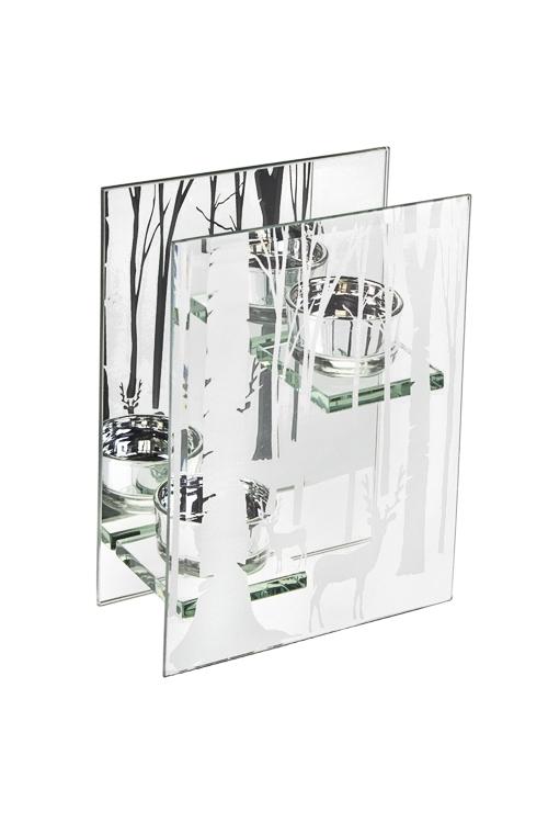 Подсвечник для 2-х свечей-таблеток ЛесПодсвечники<br>13*6*18см, стекло, серебр.<br>