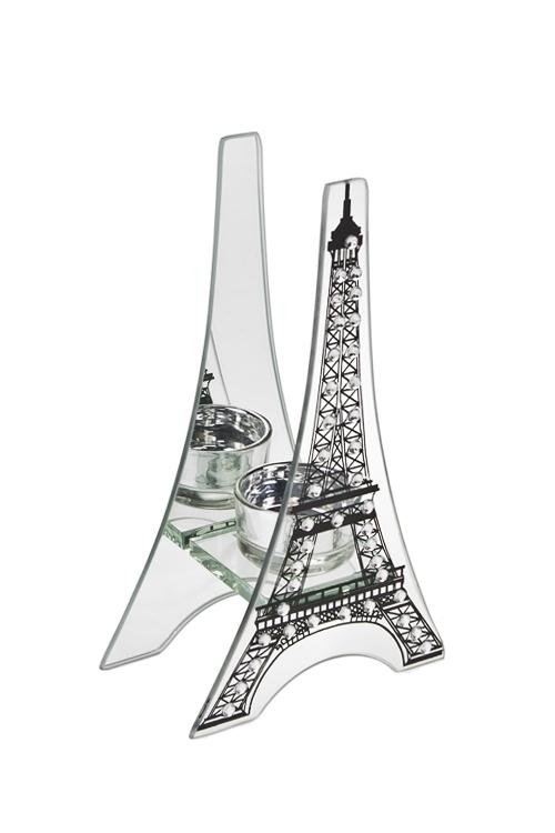 Подсвечник для свечи-таблетки Эйфелева башняИнтерьер<br>11*6*20см, стекло, серебр.<br>