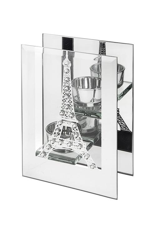 Подсвечник для 2-х свечей-таблеток Эйфелева башняПодарки<br>13*6*18см, стекло<br>
