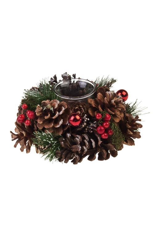 Подсвечник новогодний Заснеженные шишки и ягодкиПодсвечники<br>Д=19см, стекло, натур. матер.<br>