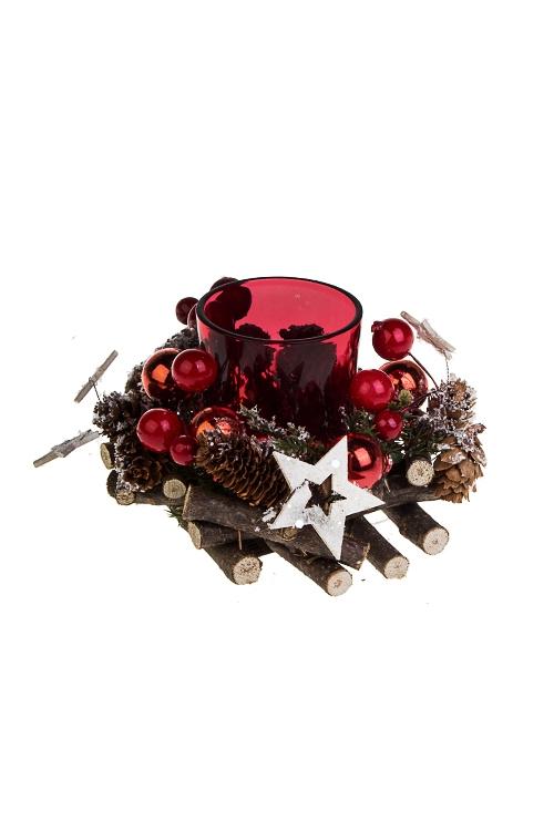 Подсвечник для свечи-таблетки Мэри кристмасИнтерьер<br>12*8см, стекло, натур. матер.<br>